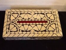 Lovely Vintage Inlaid Mother Of Pearl Trinket Or Tissue Box