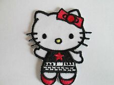 HELLO KITTY PATCH EMBROIDERED SEW/IRON ON~RED STAR SHIRT~USA SELLER