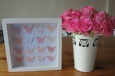 Handmade wall hanging picture shabby chic pink CATS in 3d box frame great gift
