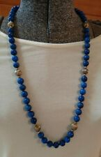 Huge Vintage Natural Blue Lapis and Goldtone Balls necklace individually knotted
