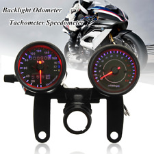 Black Universal Motorcycle LED Light Odometer & Tachometer Speedometer Gauge US