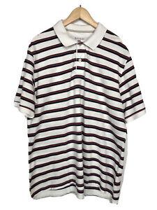 COLORADO White Men's Striped Polo Shirt Golf Tennis 100% Cotton T-shirt Size 3XL