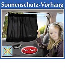 2x Auto Sonnenschutz Vorhang schwarz 65x50cm Sonnenblende Sichtschutz Fenster