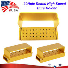 New Listing2pcs Gold Aluminium Dental Burs Holder Block 30 Holes Disinfection Autoclave Usa