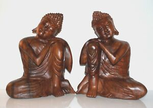Buddha Statue Genuine Wood Carving Resting on Knee 30cms Gift Idea