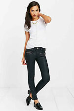 NWT $167 ZOE KARSSEN BLACK WAX COATED ROCK N ROLL SLIM SKINNY ANKLE JEANS 25