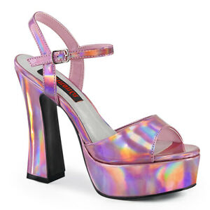 Demonia DOLLY-09 Pink Hologram Disco Platform Chunky Mary Jane Women's Sandals