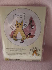 MOUSELOFT STITCHLETS CROSS STITCH KIT ~ BISCUIT THE CAT ~  MOI ? ~ NEW