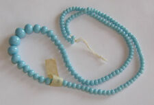 VINTAGE GRADUATED GLASS BEAD STRAND LENGTH LIGHT BLUE MADE IN JAPAN w/TAGS