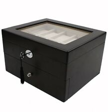 Watch Box for 20 Watches Black Compartments Cushions Clearance Glass Top