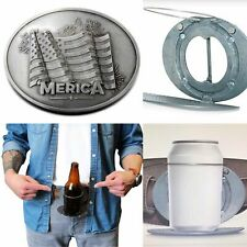 Beer Bottle Can Beverage Holder USA Merica American Flag Belt Buckle Buckles