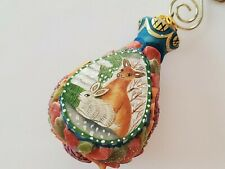 G. DeBrekht Hand Carved & Hand Painted Deer with Bunny Ornament