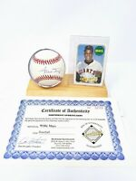 Willie Mays Signed Baseball And Display Stand COA