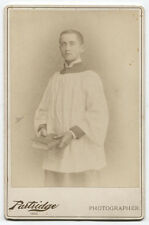 CABINET CARD ALTAR BOY IN SMOCK HOLDING BIBLE. MASSACHUSETTS.