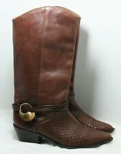 STEPHEN NEIL COLLECTION SHOES WESTERN BOHO BOOTS 8 VINTAGE VTG BROWN LEATHER