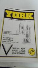 York V Mansfield Marksman programa 16.12.84