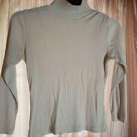 The Limited Women's White Ribbed Long Sleeve Blouse Shirt - Medium