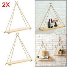 2X Rustic Solid Wood Rope Hanging Wall Shelf Vintage Storage Shelf Home UK
