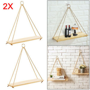 2X Rustic Solid Wooden Rope Hanging Wall Shelf Vintage Storage Shelf Home Decor