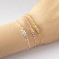 Edelstahl Feder Damen Armband Kette Armkette Armbänder Schmuck Blatt Leaf Vogel