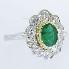 18ct White & Yellow Gold Oval Shape Emerald & Round Brilliant Diamond Ring