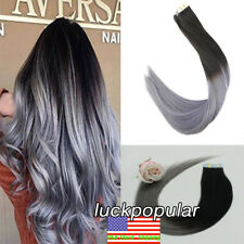Seamless Tape in Skin Remy Human Hair Extensions Ombre Black to Gray 20inch100gr
