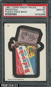 1991 Topps Wacky Packs Puzzle Piece Back #2 Badzooka PSA 10 GEM MT