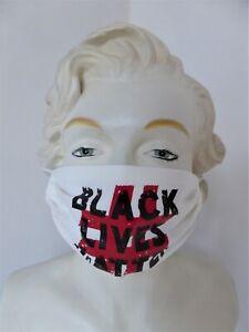 Schutzmaske - Blacklivesmatter 2 - weiß - wiederverwendbar - Modell 2