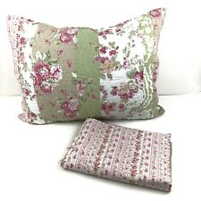 2 Pillow Shams Pink White Green Floral Flowers Quilted Chic Sweet Romantic