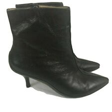 Michael Kors Brown Leather Kitten Heel Pointed Toe Ankle Boots Size 9M