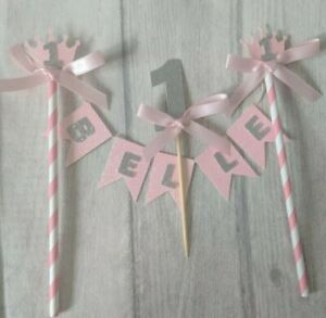 Personalised first crown bunting & number birthday cake topper cake smash 1st 1
