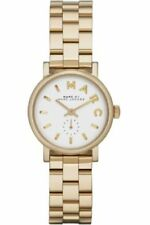NEW MARC JACOBS WOMEN MBM3247 ROUND DIAL STAINLESS GOLD BAND WATCH