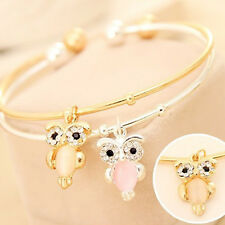 Cute Owl Charm Opal Rhinestone Gold Plated Cuff Bracelet Bangle Jewelry Gift