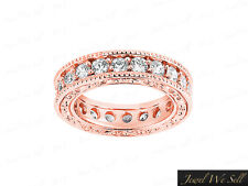 Ring 14k Rose Gold Gh I1 2.30Ct Diamond Antique Milgrain Eternity Wedding Band