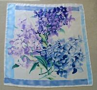 Tanner in Blue & Purple Beautiful Floral Design 100% Luxurious Silk Scarf NWT!