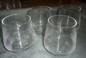 """CRAVINGS by CHRISSY TEIGEN 4"""" TEXTURED STEMLESS DRINKING GLASSES LOT OF 4 EUC"""