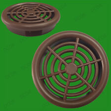 2x Brown Roof Soffit Round Air Vents Eaves 48mm Grille 44mm Hole Ventilation