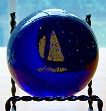 ART GLASS COBALT BLUE YELLOW SAIL BOAT  ROUND PAPERWEIGHT