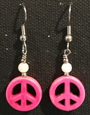 PEACE Earrings Surgical Hook New Pink Color Howlite Dyed (small)