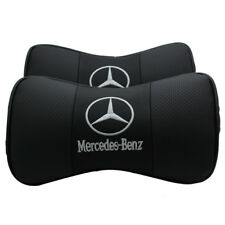 2Pc Real Leather Car Seat Neck Cushion Pillow Car Headrest Fit For Benz Car