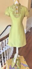 Vintage Couture Beaded Cocktail Dress & Shoes Lime Green Wool Silk Bergdorf Saks
