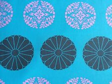 By 1/2 Yard Amy Butler Cotton Fabric ~ Cameo Pressed Flowers Sky Medallion Blue