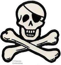 SKULL CROSSBONES PIRATE EMBROIDERED PATCH JOLLY ROGER IRON-ON SKELETON APPLIQUE