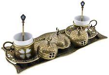 Premium Turkish Greek Arabic Coffee Espresso Serving Set for 2Cups Saucers Li...