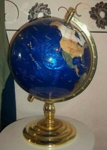 """LARGE 22"""" HIGH SEMI PRECIOUS GEM STONE WORLD GLOBE IN BRASS STAND WITH COMPASS C"""