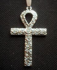 Ankh Cross Life Egyptian Patterned Antiqued Silver Tone Pendant Necklace