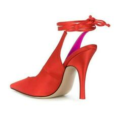 Womens Vogue Satin Pointed Toe V-Cut Ankle Wrap Stiletto Heel Sandals Shoes sz
