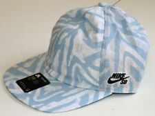 NIKE SB HERITAGE86 SKATE PRINTED FLAT BILL HAT CAP - WHITE BLUE GREY CQ9274-100