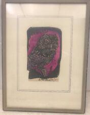 Gordon Macmillan Hughes Colored Owl Woodcut Painting  Rare! Estate Find!