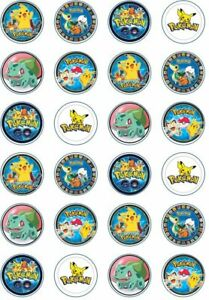 24 x Edible Cupcake Toppers - Rice / Wafer Paper - Perfect for Pokemon Fans